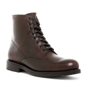 Frye Brayden Plain Toe Dark Brown Leather Boot
